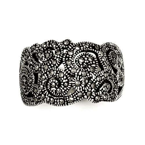 Sterling Silver Marcasite Ring Qr1380-8