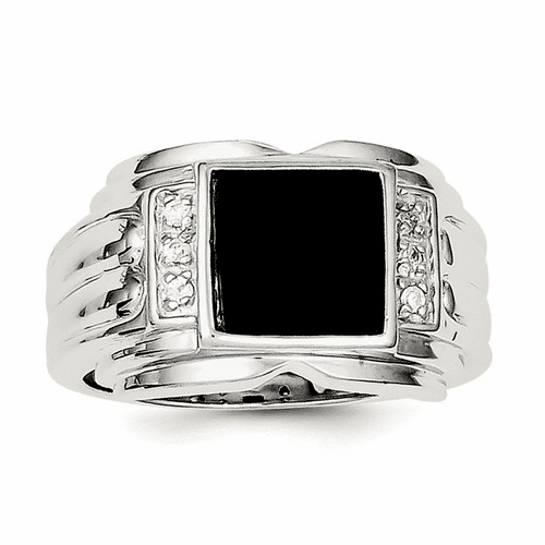 Sterling Silver Men's Cz And Onyx Ring Qr1277-9