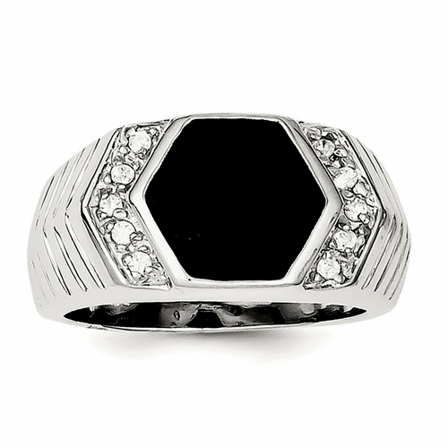 Sterling Silver Men's Cz And Onyx Ring Qr1280-10
