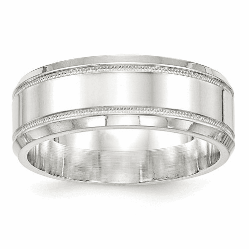 Sterling Silver Milgrain Classic Bands with Beveled Edge