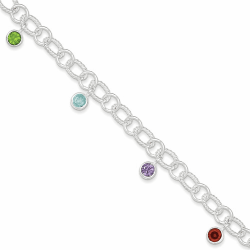 Sterling Silver Mixed Stone Dangle Twisted Link Bracelet Qg1525-7