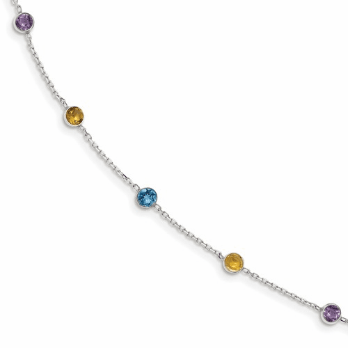 Sterling Silver Multi Cz Extension Necklace Qg2093-16