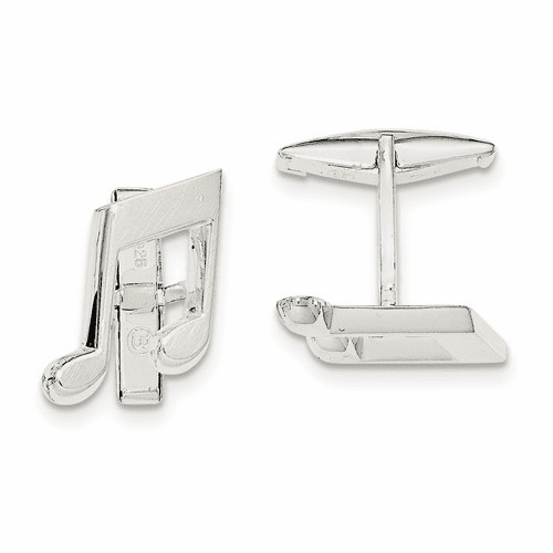 Sterling Silver Music Note Cuff Links Qq569
