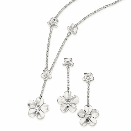 Sterling Silver Necklace And Earring Set Qg2463set