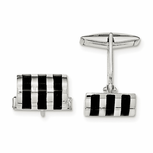 Sterling Silver Onyx Cuff Links Qq576