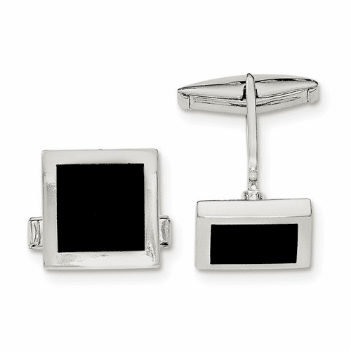 Sterling Silver Onyx Cuff Links Qq580