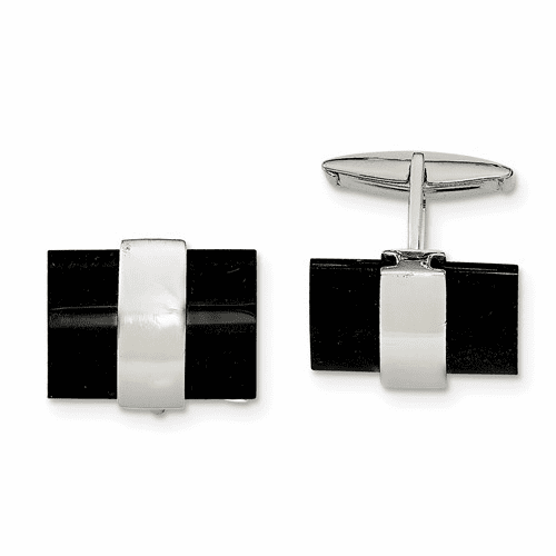 Sterling Silver Onyx Cuff Links Qq583