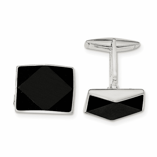 Sterling Silver Onyx Cuff Links Qq587
