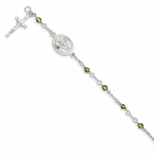 Sterling Silver & Peridot Polished Children's Rosary Bracelet Qg2830-6