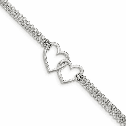 Sterling Silver Polished 3-strand W/.5in. Ext. Heart Bracelet Qg3608-7