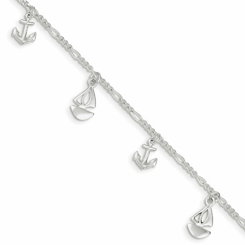 Sterling Silver Polished Boat And Anchor W/ 1in Ext. Anklet Qg3159-9