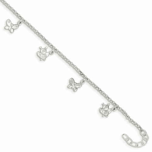 Sterling Silver Polished Butterflies & Bumble Bee Anklet Qg2146-10