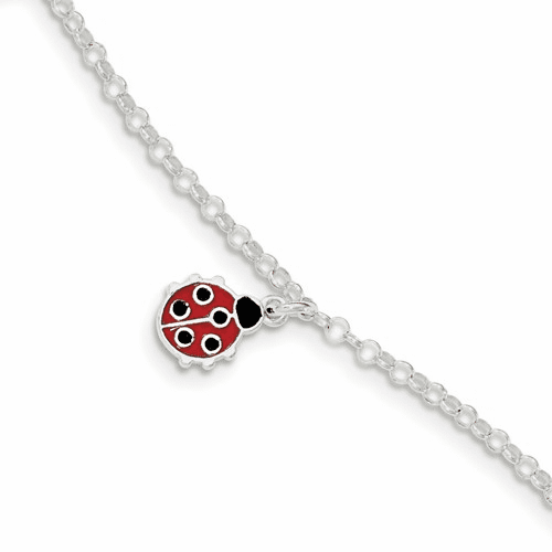 Sterling Silver Polished Children's Enameled Ladybug Bracelet Qg4086-6