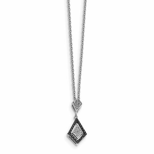 Sterling Silver Polished Diamond/black Diamond Pendant Qp4690