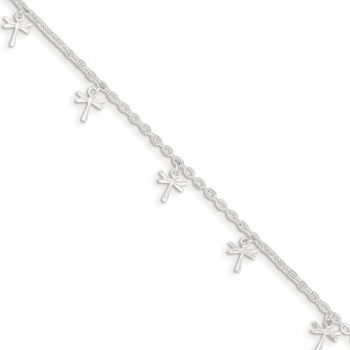 Sterling Silver Polished Dragonfly With 1in Ext. Anklet Qg2773-9