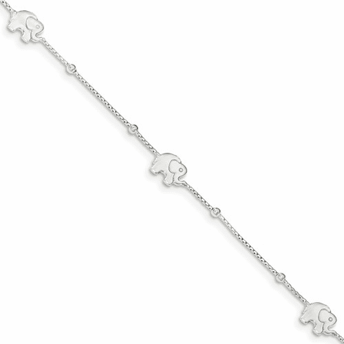 Sterling Silver Polished Elephant With 2in Ext. Anklet Qg2799-9