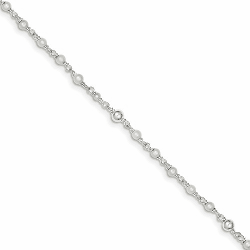 Sterling Silver Polished Fw Cultured Pearl & Heart Anklet Qh942-10
