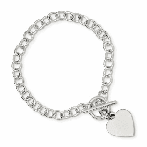 Sterling Silver Polished Heart Charm Bracelet Qg3283-7.5