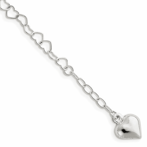 Sterling Silver Polished Puffed Heart With 1in Ext. Anklet Qg2795-9