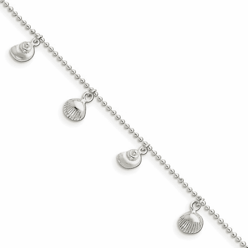 Sterling Silver Polished Sea Shell Anklet Qg2785-9