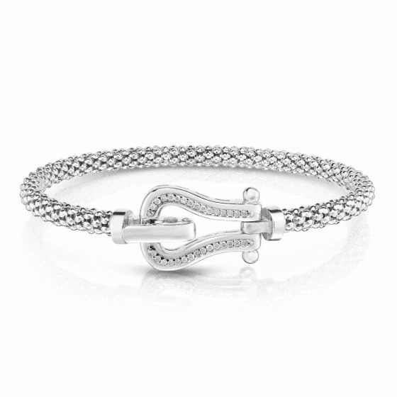 Sterling Silver Popcorn Buckle Bangle with .15ct Diamonds