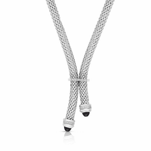 Sterling Silver Popcorn Y-Necklace with .10ct Diamonds and Black Onyx