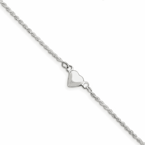 Sterling Silver Puffed Heart Anklet Qg1229-9
