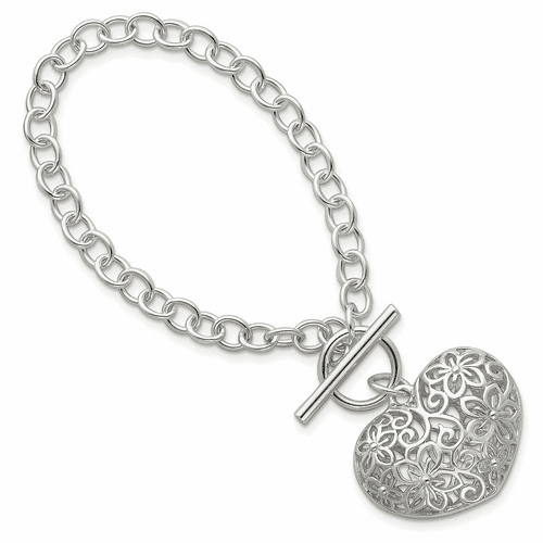 Sterling Silver Puffed Heart Toggle Bracelet Qg2978-7.75