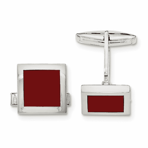 Sterling Silver Red Agate Cuff Links Qq579