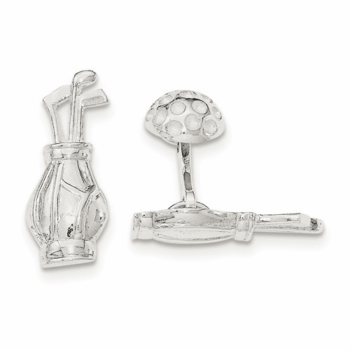 Sterling Silver Reversible Golf Clubs &ball Cuff Links Qq567