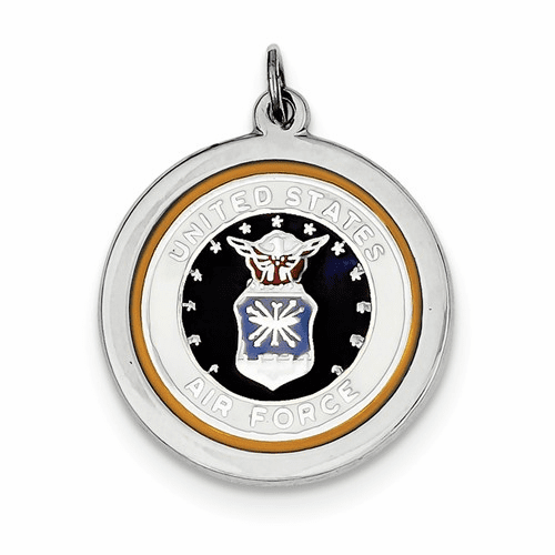 Sterling Silver Rhod-plated Us Air Force Disc Xsm145