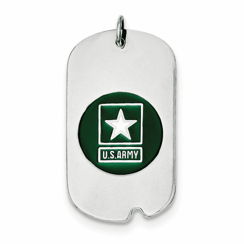 Sterling Silver Rhod-plated Us Army Star Dog Tag Xsm127