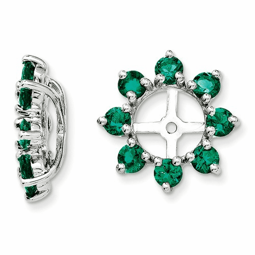 Sterling Silver Rhodium Created Emerald Earring Jacket Qj116may