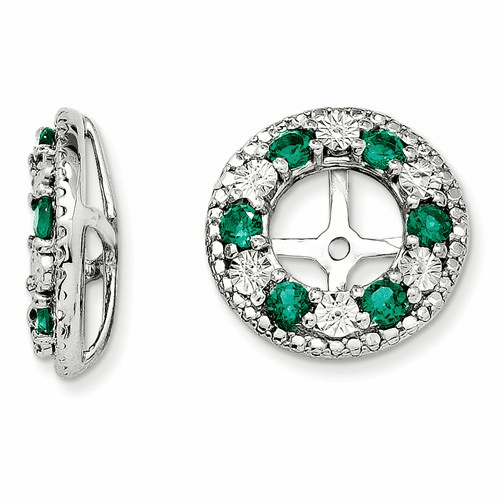 Sterling Silver Rhodium Created Emerald Earring Jacket Qj124may