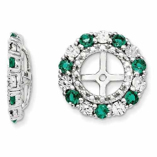 Sterling Silver Rhodium Created Emerald Earring Jacket Qj129may