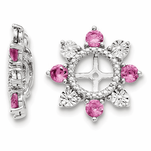 Sterling Silver Rhodium Created Pink Sapphire Earring Jacket Qj110oct