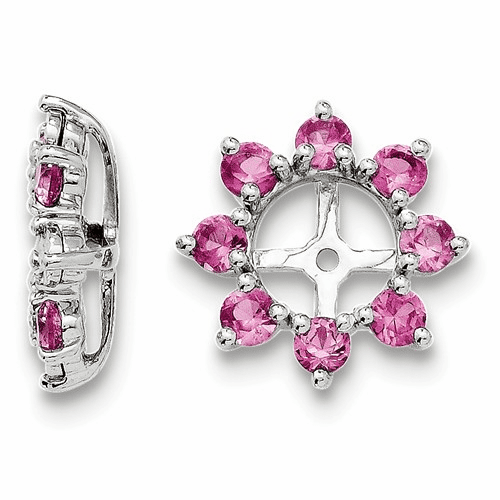 Sterling Silver Rhodium Created Pink Sapphire Earring Jacket Qj116oct