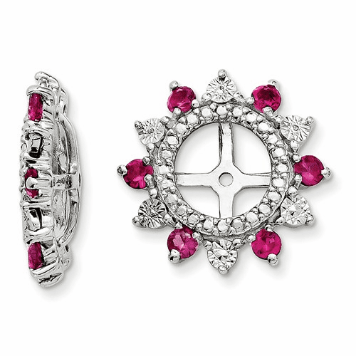 Sterling Silver Rhodium Created Ruby Earring Jacket Qj105jul