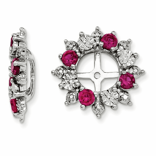 Sterling Silver Rhodium Created Ruby Earring Jacket Qj120jul