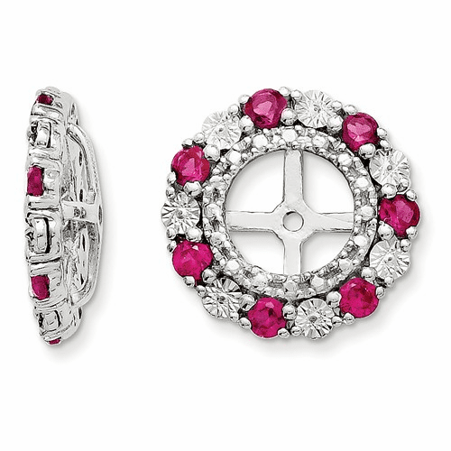 Sterling Silver Rhodium Created Ruby Earring Jacket Qj129jul