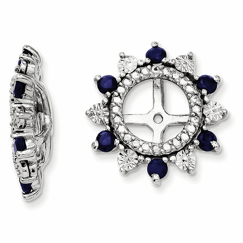 Sterling Silver Rhodium Created Sapphire Earring Jacket Qj105sep