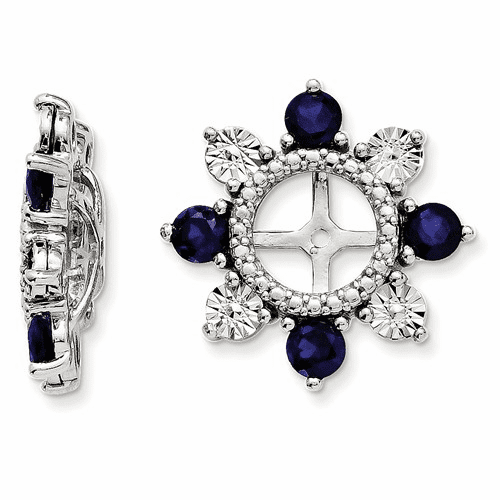 Sterling Silver Rhodium Created Sapphire Earring Jacket Qj110sep