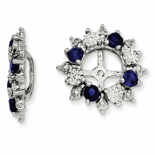 Sterling Silver Rhodium Created Sapphire Earring Jacket Qj120sep