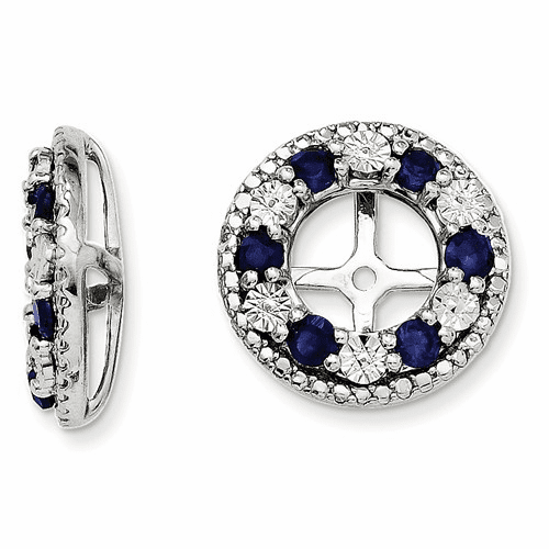 Sterling Silver Rhodium Created Sapphire Earring Jacket Qj124sep