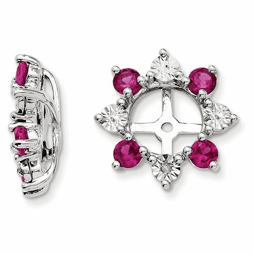 Sterling Silver Rhodium Diamond & Created Ruby Earring Jacket Qj115jul