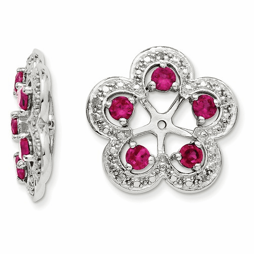Sterling Silver Rhodium Diamond & Created Ruby Earring Jacket Qj140jul
