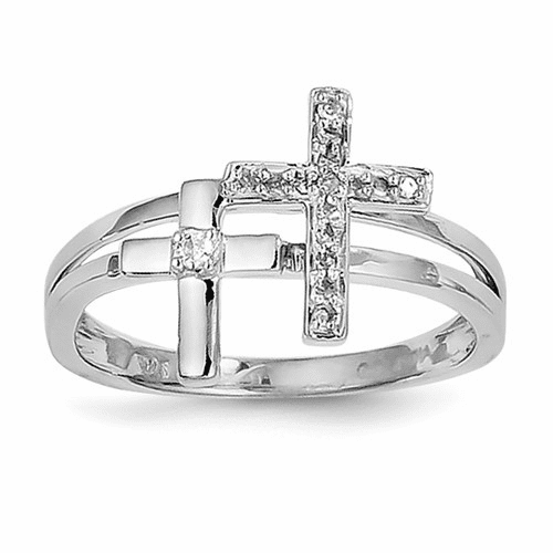 Sterling Silver Rhodium Diamond Crosses Ring Qr4677-7