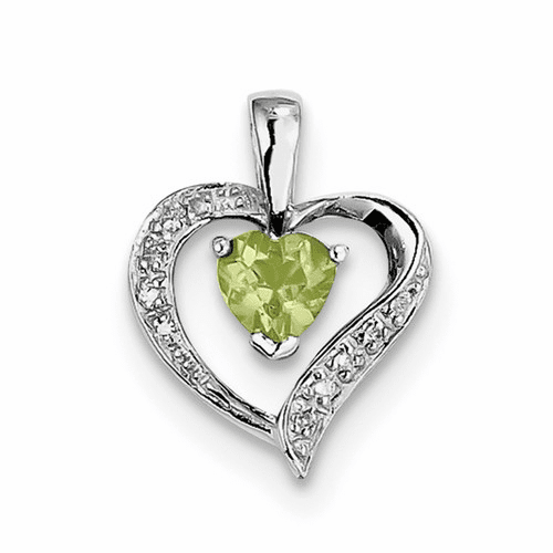 Sterling Silver Rhodium Heart Peridot & Diamond Heart Pendant Qdx803