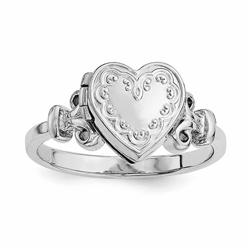 Sterling Silver Rhodium-plated 10mm Locket Ring Qls588r-7