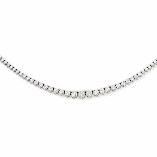Sterling Silver Rhodium-plated 131 Stone Cz Necklace Qg3131-17